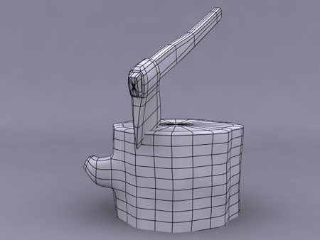 Example of wireframe render using polygon coloring